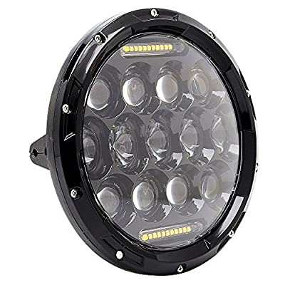 """QUAKEWORLD 7"""" inch Black 75W Harley Davidson LED Headlight Motorcycle Projector Daymaker HID LED Headlamp for JEEP Wrangler JK Harley Touring Electra Glide Classic Glide Police Standard Ultra Classic"""