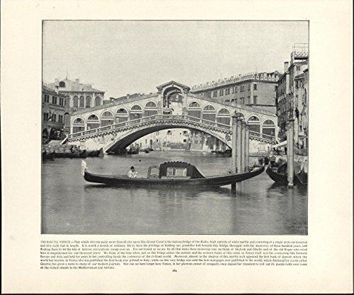 The Rialto Venice Bridge Canal Gondola City View 1892 halftone photo