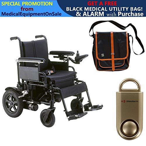 "Cirrus Plus EC Folding Power Wheelchair, 22"" Seat & Free 130 dB Gold Personal Safety Alarm/Siren! + Black Medical Utility Bag with Trim!"