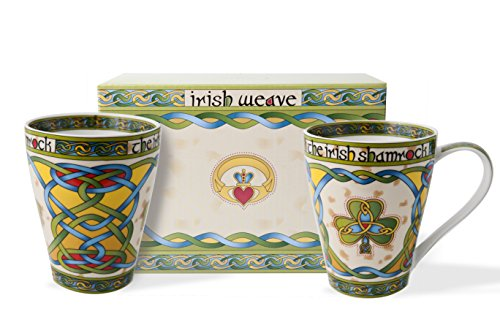 Irish Bone China 13oz Cup Set with Shamrock Gift Box (Shamrock Tea Set)