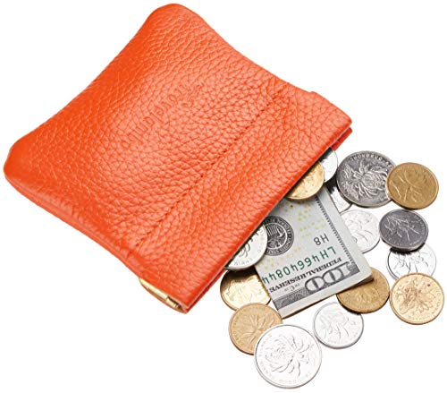 Travelambo Leather Squeeze Coin Purse Pouch Change Holder For Men & Women (Pebble Orange)