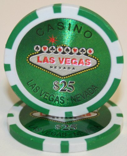 25 $25 Las Vegas 14 Gram Laser Graphic Poker Chips (14 Gram Graphic Laser)