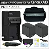 2 Pack Battery And Charger Bundle For Canon XA10 Professional Camcorder Includes 2 Extended (2100Mah) Replacement BP-819 Batteries + AC/DC Travel Charger + Deluxe Pro Carrying Case + 3pc (UV-CPL-FLD) High Res. Filter Kit + Mini HDMI Cable + More