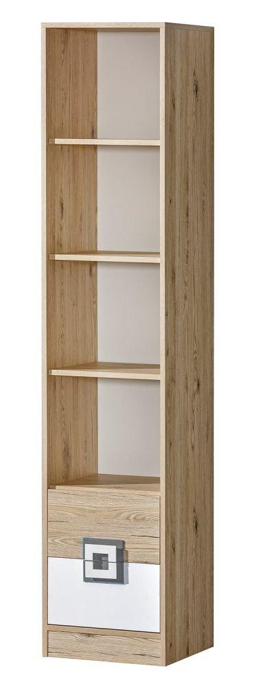 Kinderzimmer - Regal Fabian 06, Farbe  Eiche Hellbraun Weiß Grau - 190 x 40 x 40 cm (H x B x T)
