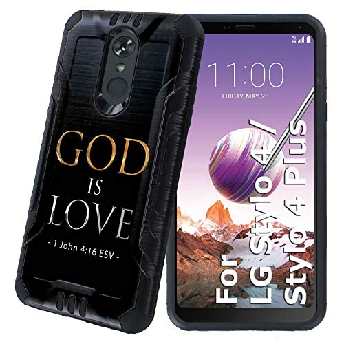 Stylo 4 / Stylo 4 Plus Protector Case [NakedShield] [Black] Rugged Fusion 2 Layers Grip Cover Armor Case [God is Love] for LG Stylo 4 / Stylo 4 Plus