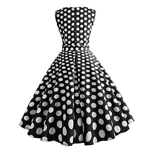 Vestido Isbxn Retro Malla Viento Mujer Nueva Onda de de de de de Black Punto dU6UCx