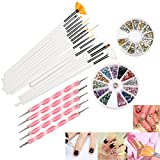 RUIMIO 12 Colors Nail Art Stickers, 15 pcs Nail Art Brushes, 5pcs Dotting Pen and 3D Nail Art Manicure Wheel with Gold and Silver Metal Studs