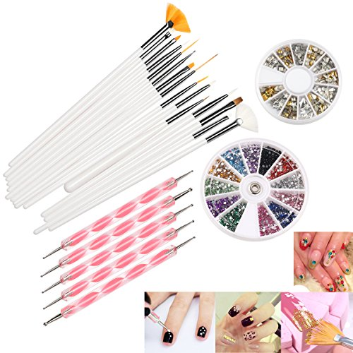 Nail Art Set, 22 Pcs DIY Nail Art Design Tools Include 15 Drawing Polish Brush Set,12 Colors Rhinestones,5 Dotting Pens, 3D Nail Art Gold/Silver Studs Stickers.