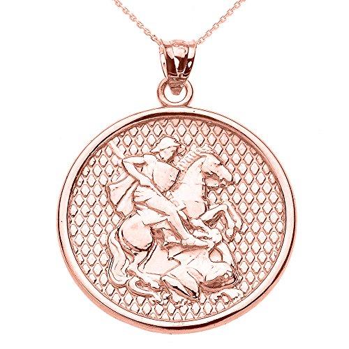 Collier Femme Pendentif 10 Ct Or Rose Saint George (Livré avec une 45cm Chaîne)