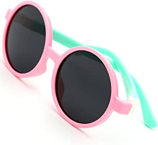 modesoda Kids Sunglasses Pink Soft Rubber Round Sunglasses Polarized Lens