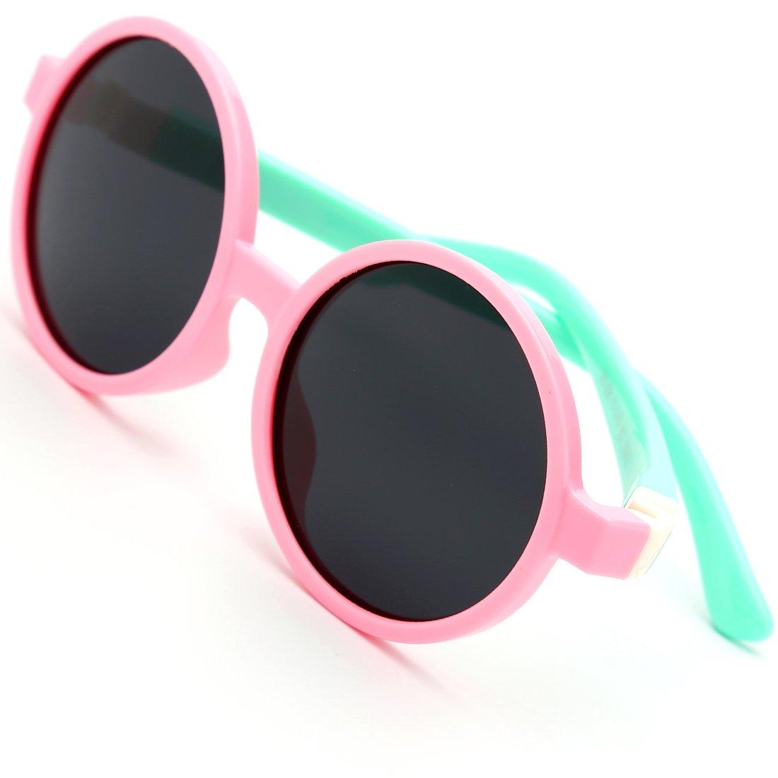 modesoda Kids Sunglasses Pink Soft Silicone Rubber Round Sunglasses Polarized Lens