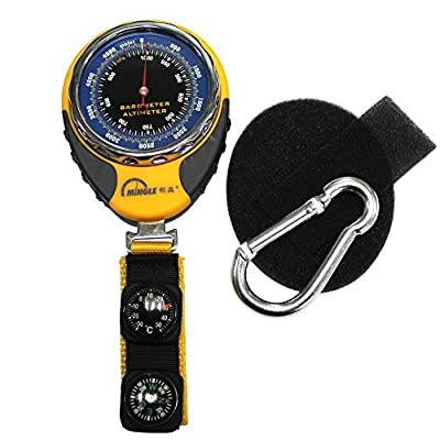 Ezyoutdoor 4 in1 Digital Altimeter Baromete Compass Thermometer Navigator Compasses North Arrow Carabiner for Travel Backpacking Picnik Climbing Outdoor Camping Hiking