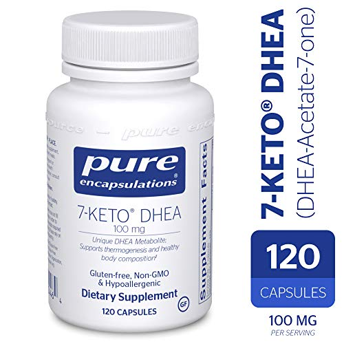 Pure Encapsulations - 7-Keto DHEA (DHEA-Acetate-7-one) 100 mg - Unique DHEA Metabolite - Hypoallergenic Dietary Supplement - 120 Capsules