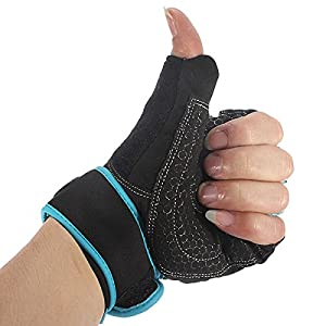 L x Sports Exercise Gloves Weight Lifting Gym Training Workout Wrist Wrap (Blue)