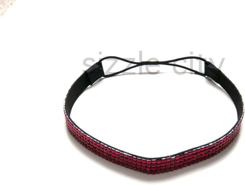 Sizzle City Thick Colored Custom Patterned Bling Rhinestone Elastic Stretch Headbands//Elastic Stretch Rhinestone Hair Bands//Bling Rhinestone Hair Accessories