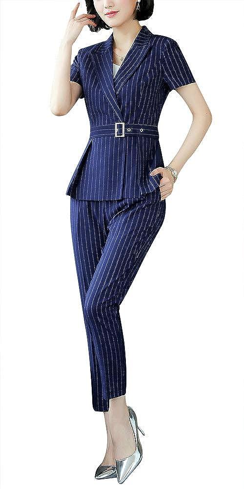 bluee LISUEYNE Women's Elegant Two Pieces Business Suit Set Slim Fit Short Sleeve Blazer Jacket Suits
