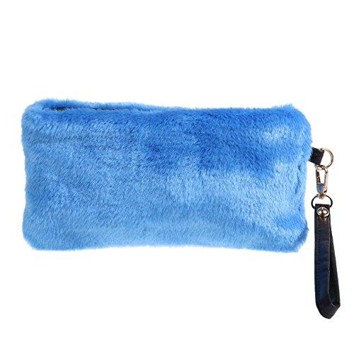 Blue Domybest Light Plush Imitation Clutch Women Bag Portable Fur Evening Purse Party Mini Handbag gySOq7gwp