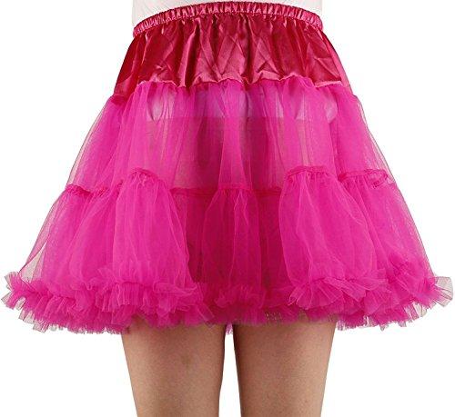 Renaissance Jester Or Clown Costumes (Ponce Fashion Women's Princess Mini Tutu Skirt Short Petticoat - Hot Pink)