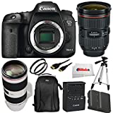 Canon 7D Mark II DSLR Camera Professional Bundle Comes with Canon EF 24-70mm f/2.8L II USM Lens + Canon EF 70-200mm f/2.8L IS II USM Lens + Two Extended Life Replacement Battery + Backpack & More!