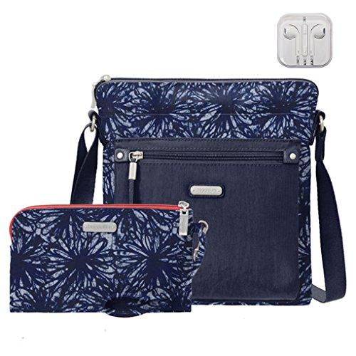 Baggallini Go Crossbody Bag, RFID Wristlet, Bundle with complimentary Travel Earphones (Indigo Floral)