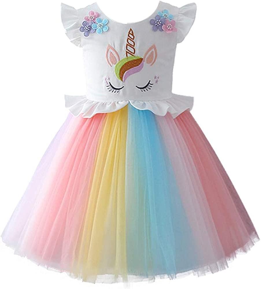 OBEEII Bebé Niñas Carnaval Unicornio Disfraz Halloween Traje Vestido de Princesa para Navidad Ceremonia Fiesta Aniversario Arco Iris Ropa 12 Meses-8 ...