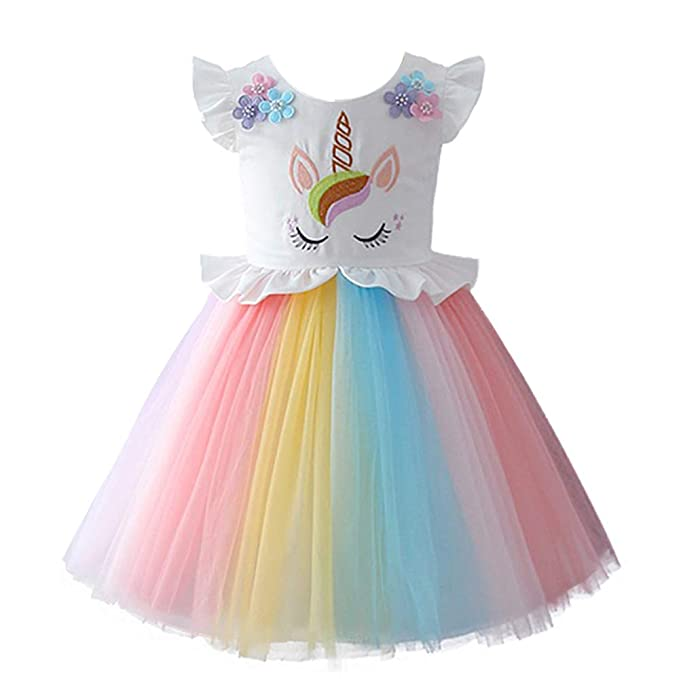 fe04ed864 OBEEII Bebé Niñas Carnaval Unicornio Disfraz Halloween Traje Vestido de  Princesa para Navidad Ceremonia Fiesta Aniversario Arco Iris Ropa 12  Meses-8 ...