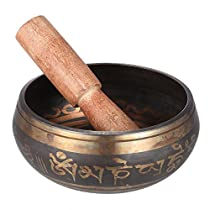 ammoon 2.8 Inch Handmade Tibetan Bell Metal Singing Bowl with Striker for Buddhism Buddhist Meditation & Healing Relaxation