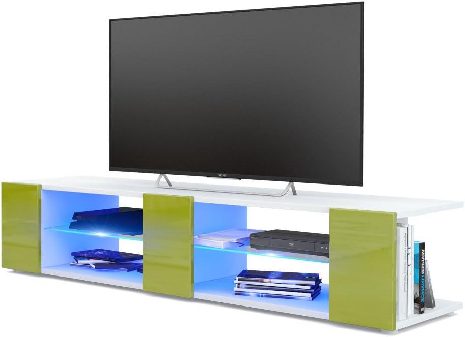 Mesa para TV Lowboard Movie V2, Cuerpo en Blanco Mate/Frentes en Negro de Alto Brillo con iluminación LED en Azul: Vladon: Amazon.es: Hogar