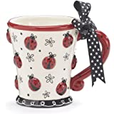 Adorable Ladybug 10 Oz Coffee Mug Cup With Dotted Bow Great Gift For Lady Bug