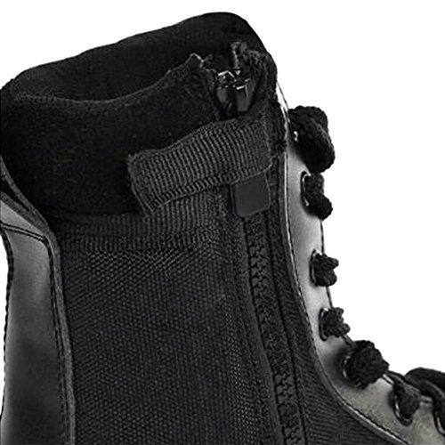 tácticas cadete de Combate 7inch cremallera desierto zapatos de botas lateral policía militares cuero selva trabajo patrulla Beige ejército de Hzjundasi nS7W6qXw