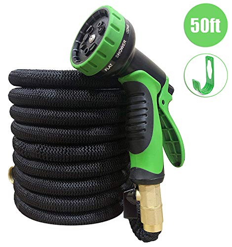 50ft Expandable Garden Water Hose - Flexible & Light Weight with Strongest Triple Core Latex & 3/4 Solid Brass Fittings - 10 Pattern Spray Nozzle with Hanger & Storage Bag