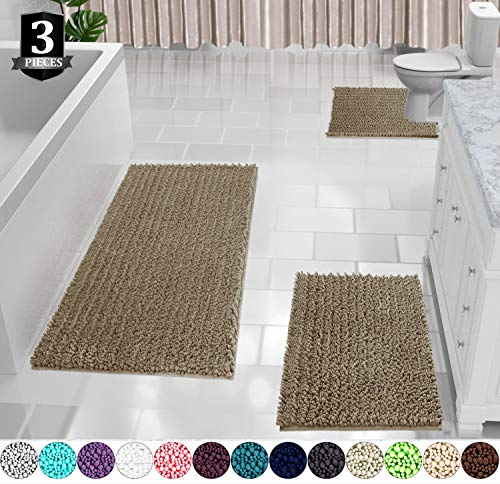 Yimobra Bath Mat Set 3 Piece, Extra Large Shaggy Chenille Bathroom Mats + Bathroom Rugs + Contour Toilet Mat, Soft and Comfortable, Water Absorbent and Thick, Non-Slip, Machine Washable, Camel