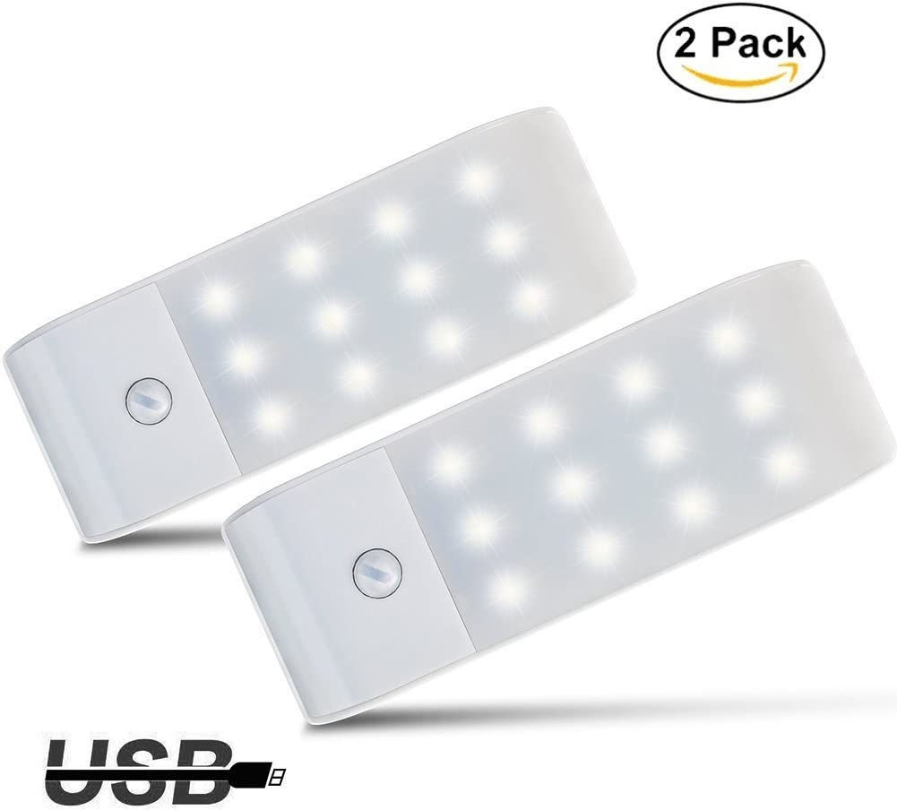 Luces de Noche LED,GPISEN Pack de 2 Luces con Sensor de Movimiento,Lámpara Nocturna USB Recargable,Luz inalambrica cálida para Escaleras, Guardarropa, Porche, Armario, Cocina, Dormitorio