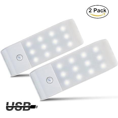 Luces de Noche LED,GPISEN Pack de 2 Luces con Sensor de Movimiento,Lámpara