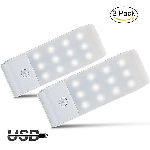 Luces de Noche LED,GPISEN Pack de 2 Luces con Sensor de Movimiento,Lámpara Nocturna USB Recargable,Luz inalambrica cálida para Escaleras, Guardarropa, ...