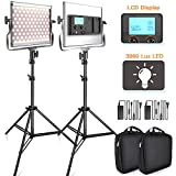 SAMTIAN 3960 Lux LED Video Light 3200-5600K 200 SMD LED Panel with LCD Display, CRI 96, U Bracket, 75 Inches Light Stand for YouTube Studio Photography, Video Shooting
