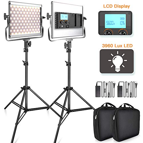 SAMTIAN 3960 Lux LED Video Light 3200-5600K 200 SMD LED Panel with LCD Display, CRI 96, U Bracket, 75 Inches Light Stand for YouTube Studio Photography, Video -