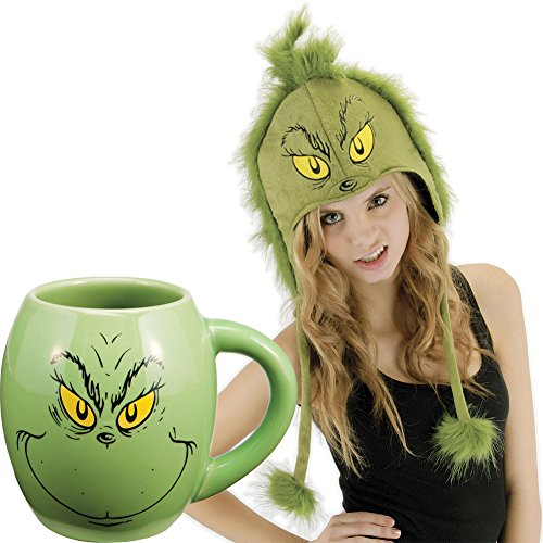 (Set) Dr Seuss How The Grinch Stole Christmas Oval Coffee Mug And Hoodie Hat (Whoville Characters)