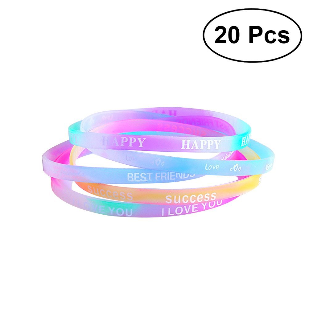 24fe1f945a80 STOBOK 20 piezas de silicona de moda coloridas pulseras pulseras Bandas  personalizadas favores de partido perfecto para Fittness Sports School  Carnaval  ...