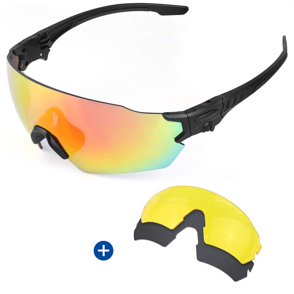 Fyland Tactical Shooting Safety Glasses, Sports Sunglasses with 3 Interchangeable Lense for Men Women Cycling Running Driving Fishing Hiking Golf Baseball by Fyland