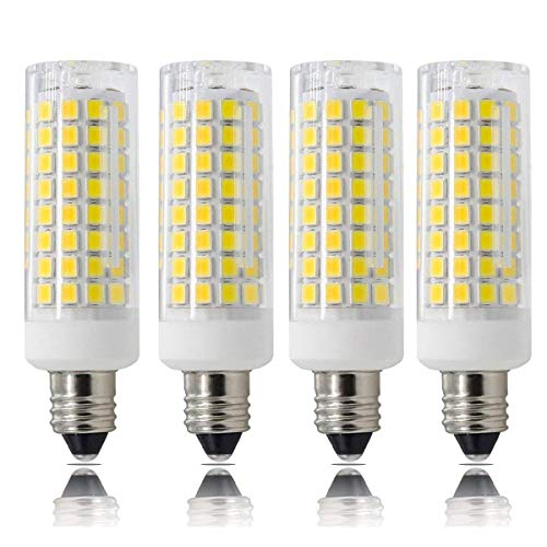 E11 led bulbs, All-New (102LEDs) Mini Dimmable Candelabra Base, T4 /T3 JD Type Clear E11 light bulbs,7.5 Watt, 75W 100W halogen bulbs replacement,850 lumens, 110V, 120V, 130V, Daylight 6000K(4 pack)