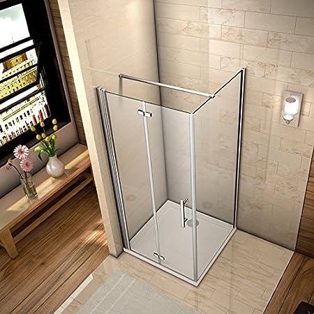 76x76x195cm porte de douche pivotante 76cm cabine de douche /à charni/ère et pliante porte de douche avec barre de fixation 900mm