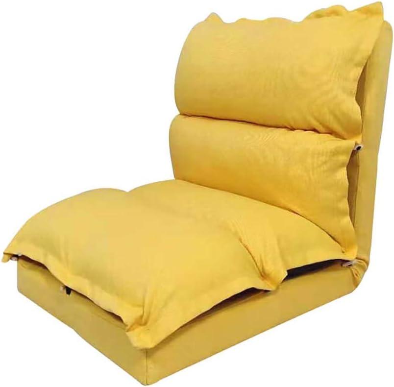 BNSDMM Plegable sofá Perezoso Tatami Mirador Presidente Balcón Dormitorio de sillón reclinable Sofá-Cama de Cama Sillas extraíble Ocioso aro del Juego (Color : Yellow, Size : L 63x57cm)