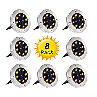 Solar Ground Lights, Upgraded Outdoor Garden Waterproof Bright in-Ground Lights for Lawn Pathway Yard Driveway, with 8 LED Warm White Lights (8 Pack)