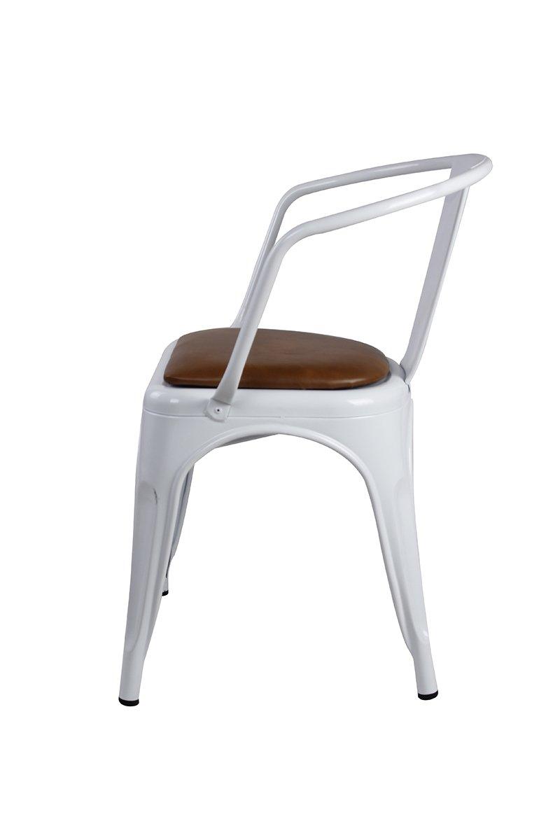 Large Seat Metal Chair Antique White with Black Cushion MC45K-ANTIWH/_PU/_4/_VC Pack GIA MC45K-ANTIWH/_PU/_4 High Back