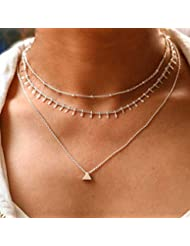 Yalice Layered Triangle Pendant Necklace Chain Dangle Choker Necklaces Jewelry for Women and Girls (Silver)