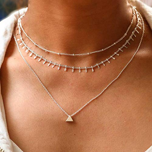 Tgirls Boho Layered Tassel Necklaces Bead Chain Necklace with Triangle Pendant for Women and Girls XL-018 - Layered Tassel