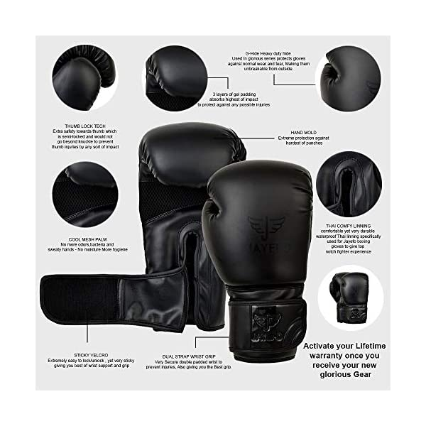Jayefo Glorious Boxing Gloves Muay Thai Kick Boxing Leather Sparring Heavy Bag Workout Pro Leather Gloves Mitts Work for Men & Women 3