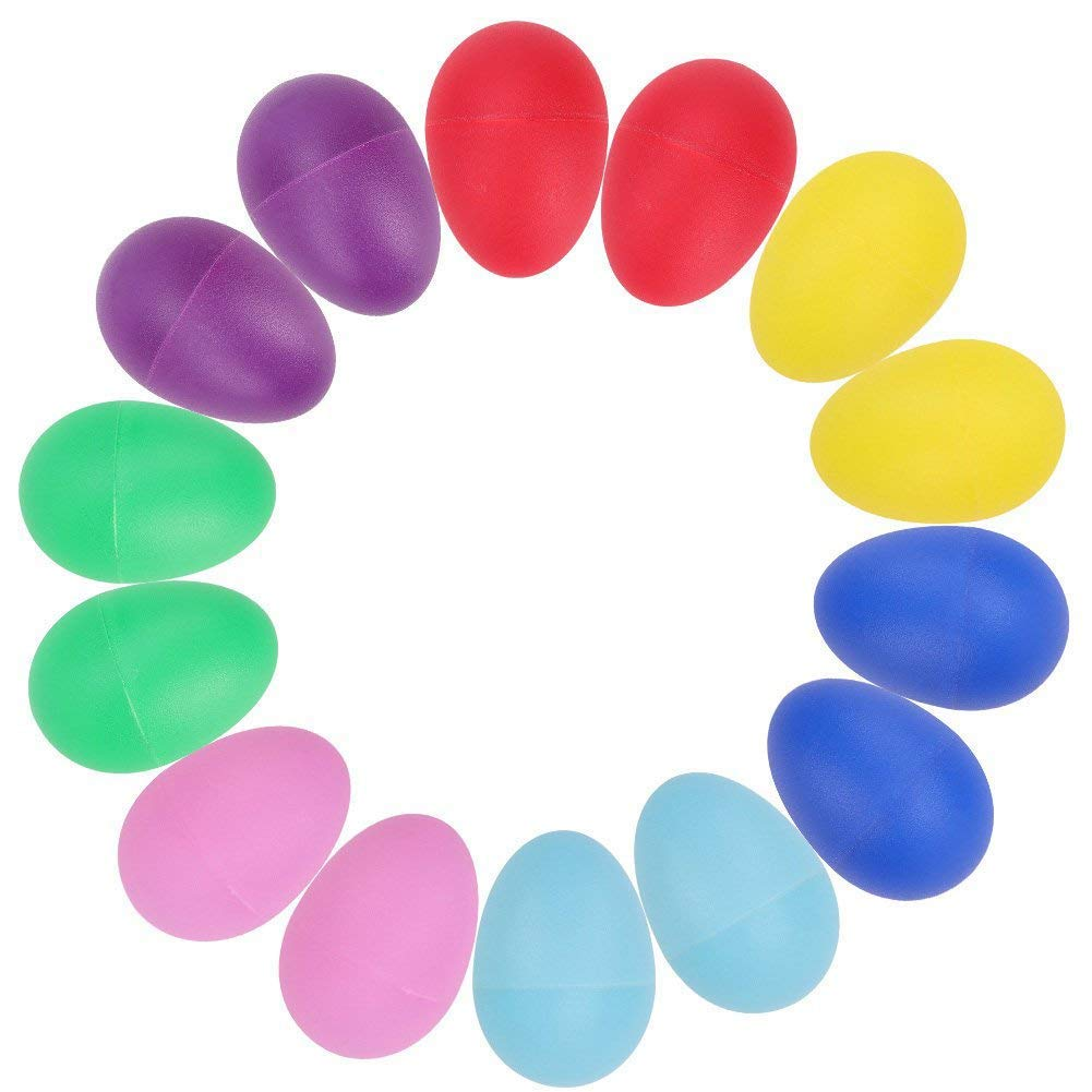 14pcs Plastic Percussion Musical Toys Egg Maracas Egg Shakers Kids Toys- 7 Different Colors HoLeis