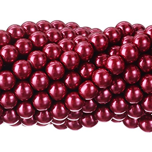 (RUBYCA 200Pcs Czech Tiny Satin Luster Glass Pearl Round Beads for Beading Jewelry Making 3mm Rose)